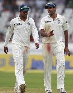 Spin twins...India's Pragyan Ojha and Ravi Ashwin.