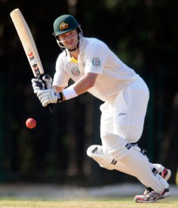 Shane Watson hits out during Australia's tour match against India A.
