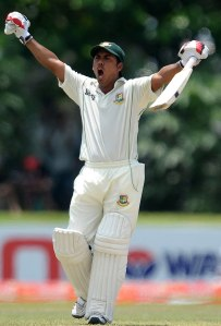 Roar of delight...Ashraful celebrates his first Test century since 2008.