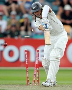 Back to the hutch...Chris Martin records yet another Test duck.