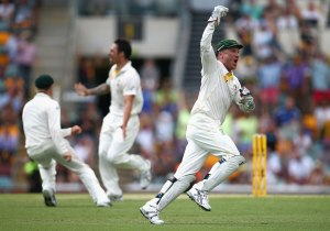 Haddin celebrates his 200th Test catch in Adelaide.