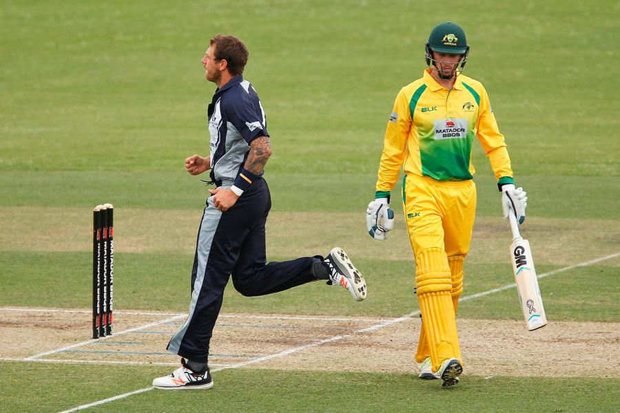 James Pattinson claims another wicket as the CA XI were bowled out for just 79 against Victoria. (Photo credit: Getty Images)