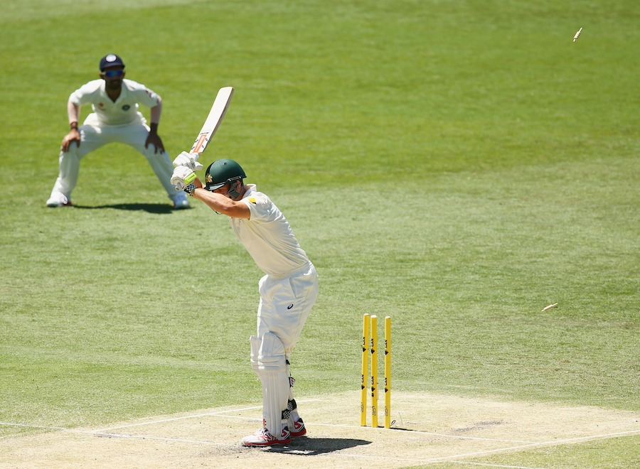 BRISBANE, AUSTRALIA - DECEMBER 19:  Mitch Marsh of Australia is bowled by Ishant Sharma of India during day three of the 2nd Test match between Australia and India at The Gabba on December 19, 2014 in Brisbane, Australia.  (Photo by Cameron Spencer/Getty Images)